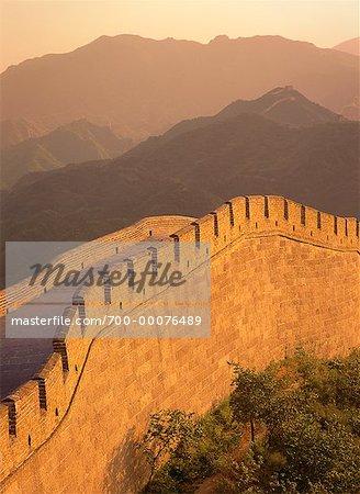 Grande muraille à Badaling, coucher de soleil en Chine