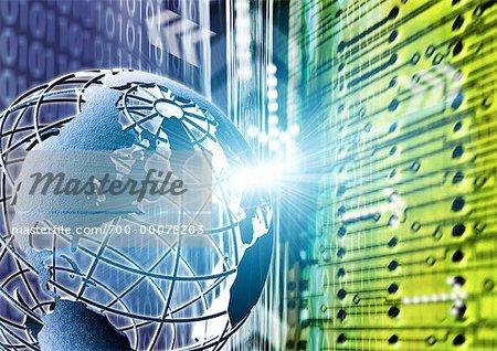 Wire Globe, Circuit Board and Binary Code North America