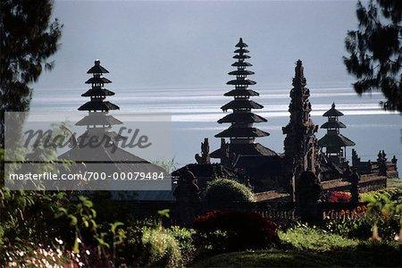 Candi Kuning Temple on Shore of Lake Bratan, near Bedugul Bali, Indonesia