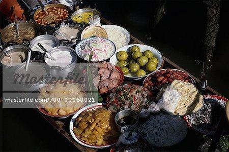 Food in Vendor Boat in Floating Market Bangkok, Thailand
