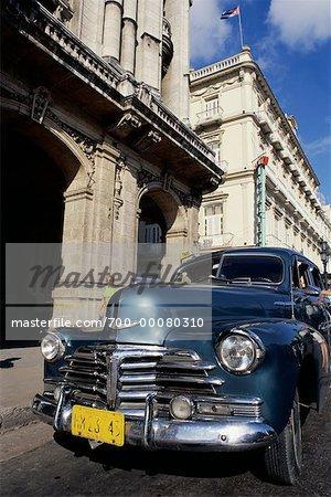 Antique Car Parked on Street Havana, Cuba