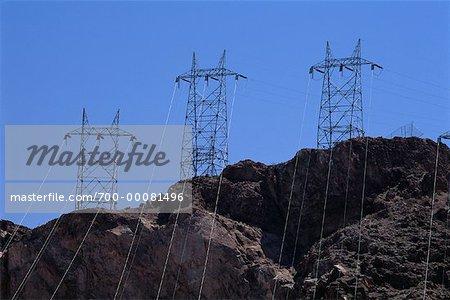 Lignes électriques de Hoover Dam Nevada, USA