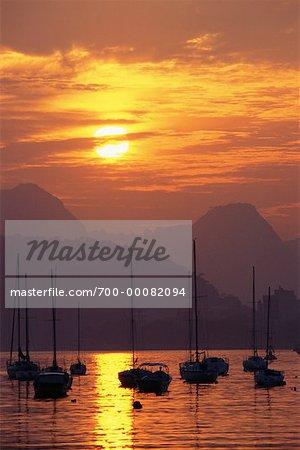 Boats on Guanabara Bay at Sunset Rio de Janeiro, Brazil
