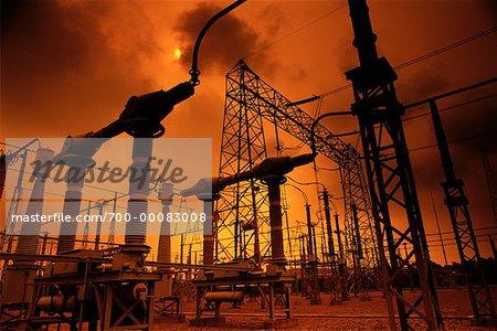 Sous-station électrique au Sunset Delmarva Power et lumineuse du Delaware, USA