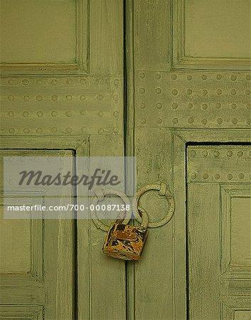 Padlock on Door Kasbah Ominest near Marrakesh, Morocco