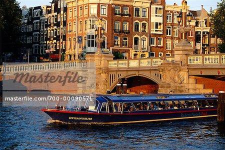 Boat on Amstel River Amsterdam, The Netherlands