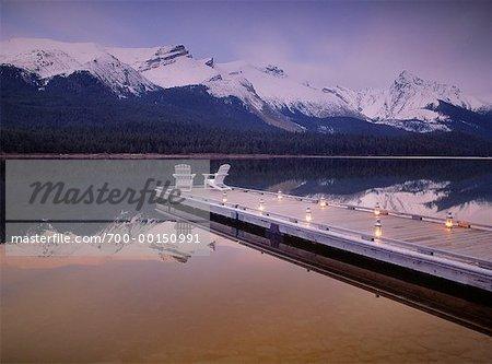 Twilight on Maligne Lake Jasper National Park Alberta, Canada