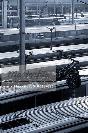 Trains at the Gare du Nord Paris, France