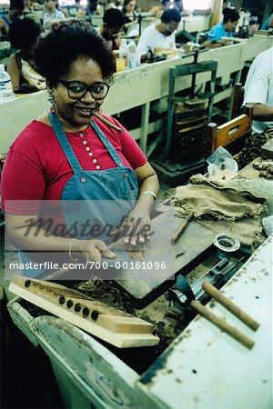 Woman Rolling Cigars in Factory Havana, Cuba