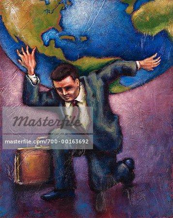 Illustration of Businessman Holding World on Shoulders