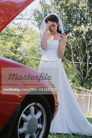 Bride with Car Broken Down