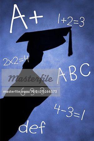 Schatten des Graduate auf Blackboard