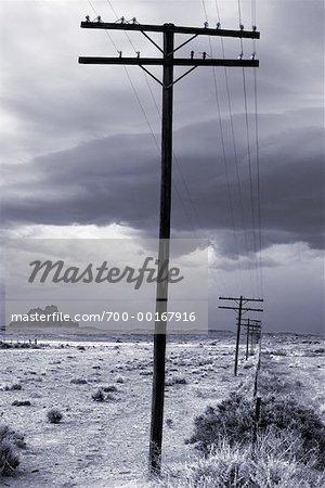 Lignes électriques à travers désert
