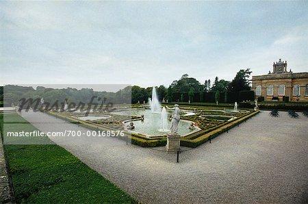 Jardin derrière le palais de Blenheim, Oxford, Angleterre