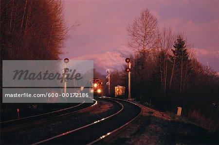 Train et la voie ferrée, la vallée du Fraser, en Colombie-Britannique, Canada
