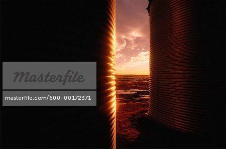 Grain Storage Bin at Sunset Alberta, Canada