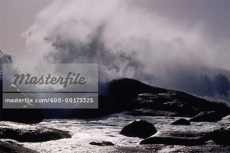 Vagues sur terre, l'océan Atlantique, Hondeklipbaai, Province du Cap, Afrique du Sud