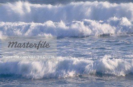 Vagues, l'océan Atlantique, Namaqualand, Afrique du Sud