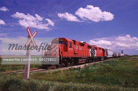 Train at Crossing, Saskatchewan, Canada