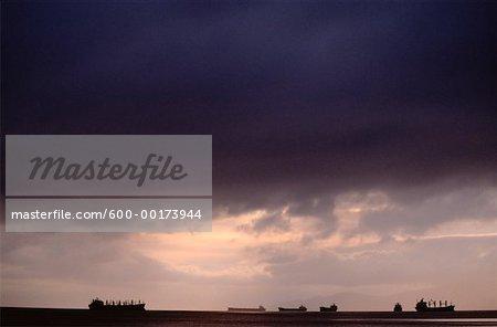 Ships at Sunset, English Bay, Vancouver, British Columbia, Canada