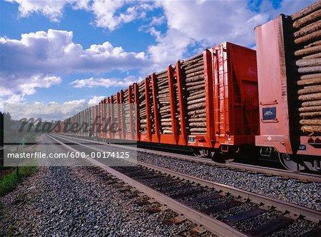 Train de bois à pâte, nord de l'Ontario, Canada