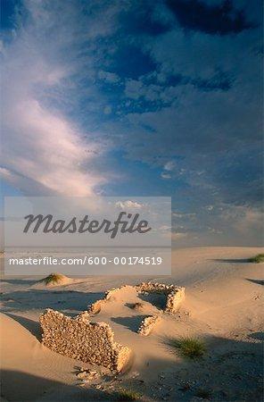Pierres des ruines et des Dunes de sable, Boulderbaai, PK. nat. de côte ouest, du Nord du Cap, Afrique du Sud