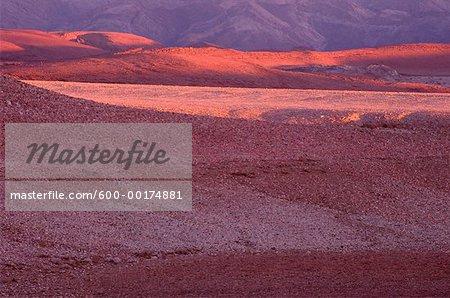 Coucher du soleil, le désert rocheux, le Parc National du Richtersveld, Afrique du Sud