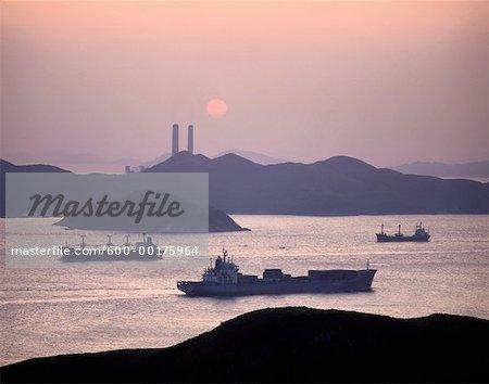 Ships in Lamma Channel, South China Sea, Hong Kong