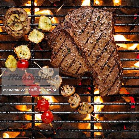 Steak sur le barbecue