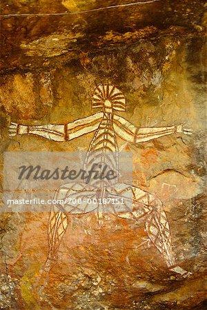 Art autochtone au territoire du Nord de Nourlangie Rock, Australie