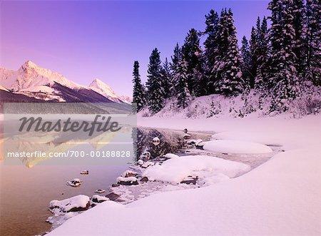 Maligne Lake at Sunset Jasper National Park Alberta, Canada