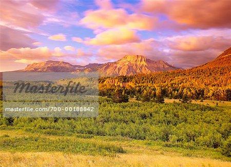 Sunrise in Mountain Region Waterton National Park Alberta, Canada
