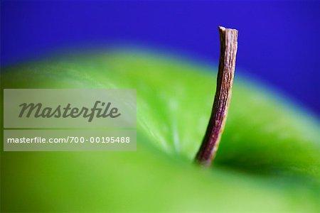 Gros plan d'une pomme verte