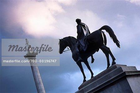 Statue and Nelson's Column Trafalgar Square London, England