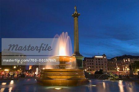 Nelson's Column and Fountain Trafalgar Square London, England