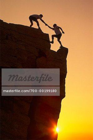 Two Men Rock Climbing Alberta, Canada