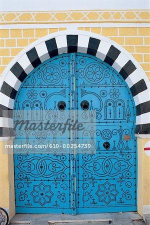 Tunisie, Sidi Bou Saïd, bleu porte