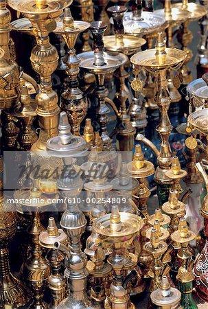 Egypt, Khan El Khalili region, narghilehs