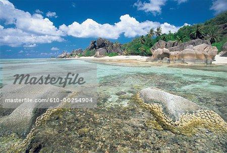 Seychelles, Source d'argent poignée, plage et granit