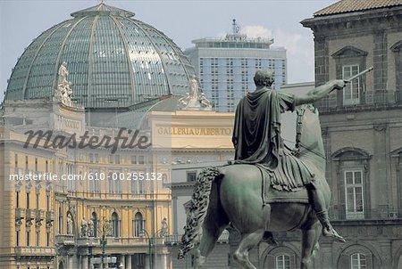 Italy, Naples, equestrian statue
