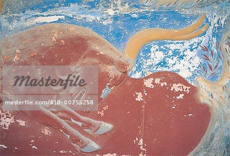 Peinture minoenne de Crète, la Grèce,
