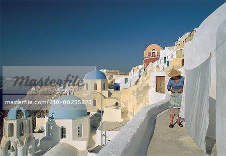 Greece, Santorini, terraces in Ia village