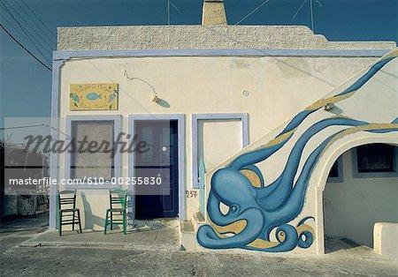 Greece, Santorini, mural at Ia