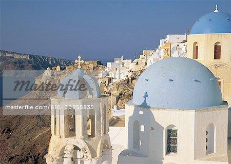 Toits églises de Grèce, Santorin, à Ia