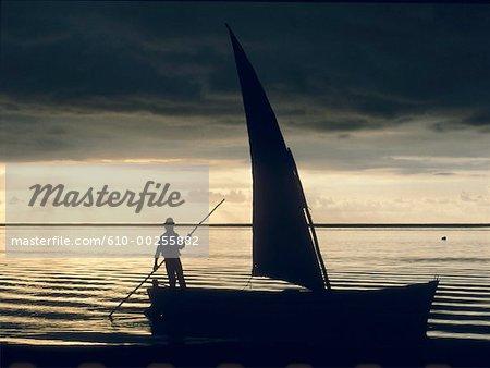 Mauritius Island, fisherman at dusk