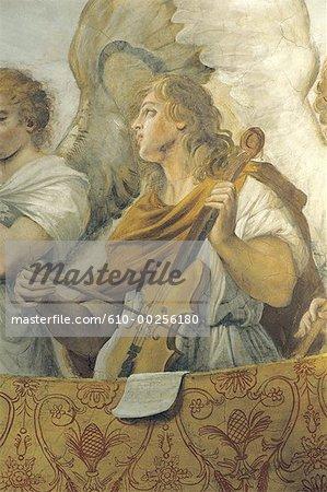 Italy, Rome, Angel musicians in San Gregorio oratory
