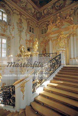 Russia, Saint Petersburg, Peterhof Palace stairs