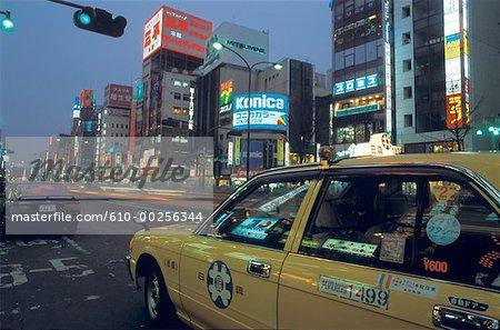 Taxi du Japon, Tokyo, à Ginza par nuit