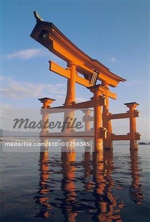 "Japan, Miyajima, Itsukushima temple, ""torii"" portico"