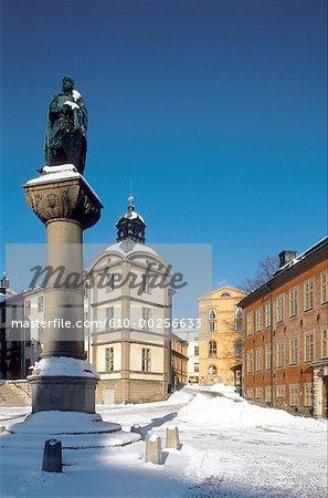 Suède, Stockholm, Gamla Stan sous la neige